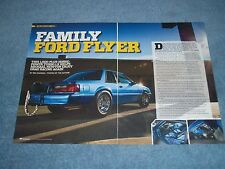 """1988 Mustang LX Fox Body Turbo Drag Car Article """"Family Ford Flyer"""""""