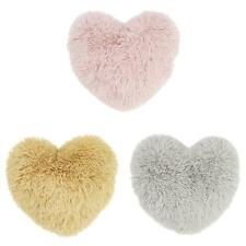 Catherine Lansfield Cuddly Heart Cushion Fluffy Shaggy Faux Fur Filled Cushions