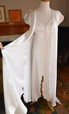 True Vtg GEORGETTE TRABOLSI White Satin Peignoir Set BRIDAL Nightgown Robe S