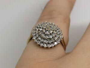 Half Carat Yellow 9 Carat Gold Diamond Cluster Ring Size L  .50 .