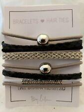 Set Of 8 Stackable Bracelet/Hair Ties in Black/Silver/Gray