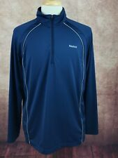 Reebok 1/4 Zip Running Athletic Pullover Stretch Blue Shirt Men's L