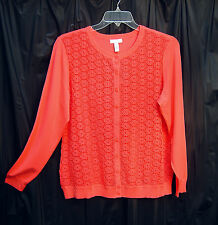 CORAL EMBROIDERED LACE BUTTON FRONT CARDIGAN JACKET SWEATER TOP~1X~2X~NEW