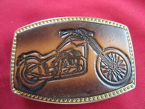 MOTORCYCLE THEMED BELT BUCKLE  UN USED!  2.25 BY 3.25 INCHES WITH LEATHER INSERT