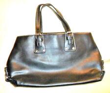 Tommy Hilfiger Black Satchel Pebbled leather Handbag Green/Blue Plaid trim inner