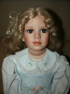 "24"" Porcelain & Cloth Doll by Artist Barb Ebbenstein, gorgeous smocked dress!"