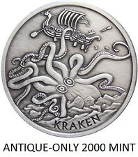 1 OZ SILVER COIN ANTIQUE KRAKEN PIRATE SILVER COIN ANONYMOUS MINT #RIM-ONLY 2000