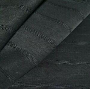 Black Satin Fabric Striped Cotton Nylon Mix SOLD BY THE METRE