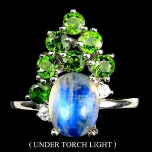 AAA BLUE FIRE MOONSTONE & CHROME DIOPSIDE RING 925 STERLING SILVER SZ 7.5