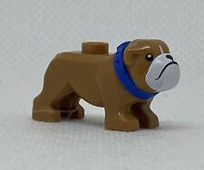 New Lego Bulldog White Muzzle Blue Collar Dog Genuine Minifigure 60258 Bull