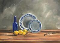 Print of Original oil painting art still life blue bottle with lemon shabby chic