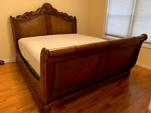 HIGH END SOLID WOOD KING SIZE BED, LARGE DRESSER NO MIRROR. ONE NIGHTSTAND
