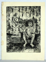 """11"""" Vintage Print Etching Jaime Hennon Nude Man In Room Gay Interest Abstract"""