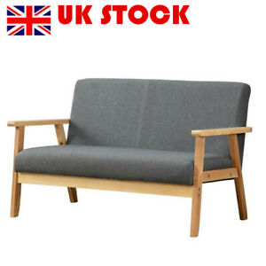 Modern 2 Seater Sofa Bed Armchair Loveseat Fabric Linen Seat Wooden Frame Grey