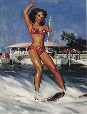 "*Postcard-""Girl on Beach...Skiing--Having a Blast""   ...Classic- {Z7}"