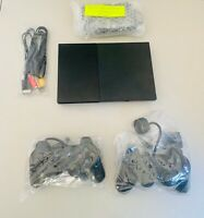 Black Playstation 2 Slim PS2 Console + 2 Dual Shock Controllers PAL Updated!