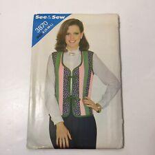 See & Sew 3870 Size S M L Misses' Vest