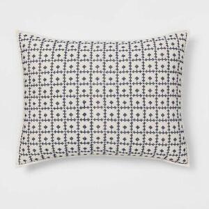 Standard Threshold Embroidered Grid Sham White W/ Navy Cross Stitch 100% Cotton