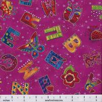 Laurel Burch LAUREL LAND Alphabet ABC TOSS VIOLET Fabric By the FQ -1/4 YD