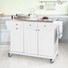 SoBuy® Carrito de cocina con piso de acero,carrito de servir,blanco,FKW33-W, ES