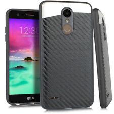 For LG K10 2018 / K30 /Premier Pro - Magnetic Back Plate Carbon Fiber Case Cover