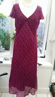 Ladies Ammi Mijus 100% silk dress UK 12 Wedding Races Cruise Holiday VGC