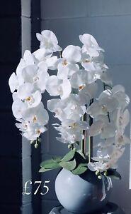Lusso Vita Decor Luxury Silk Artificial Orchid in a Grey Gloss Glass Bowl.
