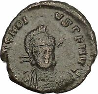 Arcadius facing RARE 401AD Ancient Roman Coin Constantinopolis seated i52980