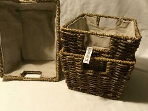 Tidy Loft Co. - Woven Seagrass Basket Set of 3 - Fabric Lining