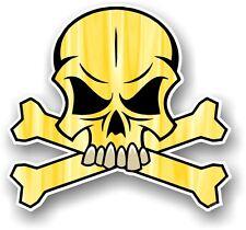 Calavera Y Huesos Cruzados Diseño Y Amarillo Color Pirata Motivo Vinilo Coche Pegatina Calcomanía