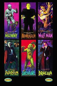 Aurora Monsters Frankenstein The Mummy Dracula Bumper Sticker or Fridge Magnet