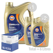 Engine Oil and Filter Service Kit 6 LITRES Gulf Formula CX 5w-30 Advanced 6L