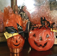 2 Vtg Halloween JOL Candy Container Hard Plastic Blow Mold Cellophane Pumpkin