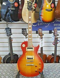 Vintage V100 Distressed Cherry Sunburst Les Paul Copy Electric Guitar