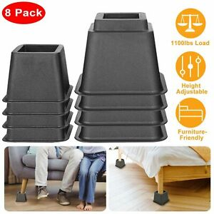 8Pcs Furniture Risers 1100lbs Capacity Adjustable Bed Couch Table Chair Risers