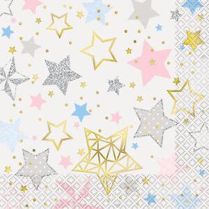 16 x Pretty Pastel Silver & Gold Star Design Party Napkins Foil Finish