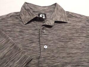FootJoy Mens Small Short Sleeve Solid Gray Athletic Polo Golf Shirt