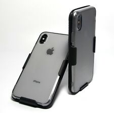 For iPhone X TRANSPARENT CLEAR GRAY SLIM TPU CASE with BELT CLIP HOLSTER