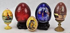 Set of 5 Wooden, Glass & Crystal Art Eggs. (BI#BSM)
