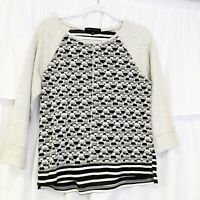 GUC Sanctuary Women's Gray Raglan Geometric Striped Sweatshirt Size Large