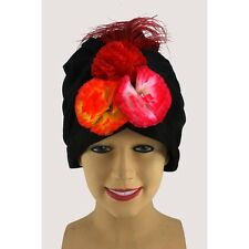 Miranda Turban Havana Hat Carmen Costume Headpiece Flowers Feathers Cuban SALE