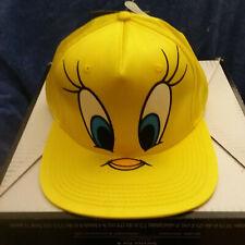 Licened Looney Tunes Hat Women's Tweety Bird Big Face Flat Bill Yellow Hat NEW