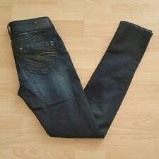 Silver Women's Aiko Mid Skinny Stretch Jeans Size 26 Blue Dark Indigo Wash