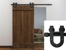 6FT Black European Antique Horseshoe Barn Wood Sliding Door Hardware Track Set