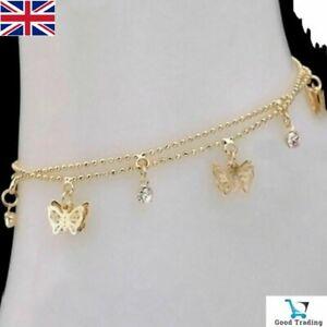 Gold Butterfly Ankle Bracelet Sandal Anklet Foot Jewelry Jewellery Chain Beach U