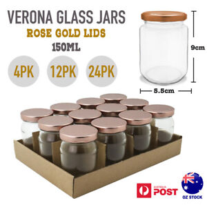 4/12/24pk 150ml Small Glass Jar Rose Gold Airtight Lid Jam Lolly Storage Wedding