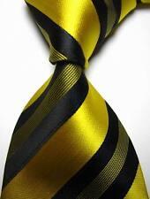 New Classic Stripes Yellow Black JACQUARD WOVEN 100% Silk Men's Tie Necktie