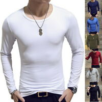 Men's Muscle T shirt Long Sleeve Slim Fit Shirt O neck Gym Running Shirts