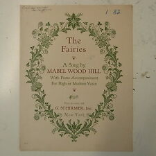 song sheet MABEL WOOD HILL the fairies , with initialed dedication