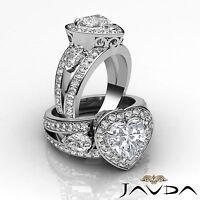 2.5ct Heart Diamond Engagement Halo Pre-Set 14k White Gold 3Stone Ring I VS2 GIA